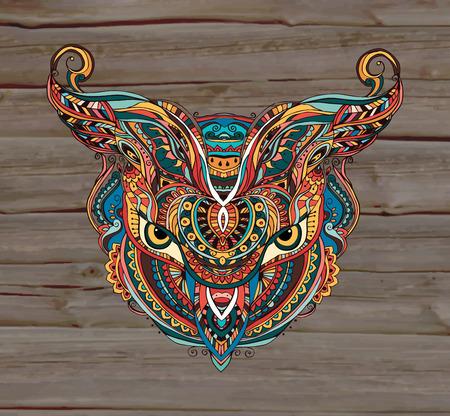 origen animal: Máscara de ser objeto de la tribu del clan representación planta símbolo animal, ejemplo del vector. Conjunto perfecto para cualquier otro tipo de diseño, cumpleaños y otras fiestas, caleidoscopio, medallón, el yoga, la india, árabe Vectores
