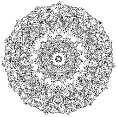 Ornament black white card with mandala. Geometric circle element Vector