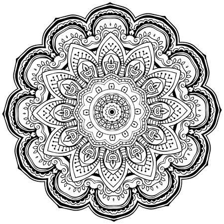 Ornament black white card with mandala. Geometric circle element Vector