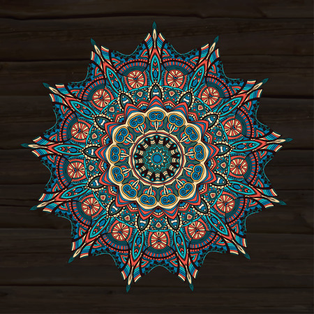 Ornament beautiful  card with mandala. Geometric circle element made in vector. Perfect  cards for any other kind of design, birthday and other holiday, kaleidoscope,  medallion, yoga, india, arabic  イラスト・ベクター素材