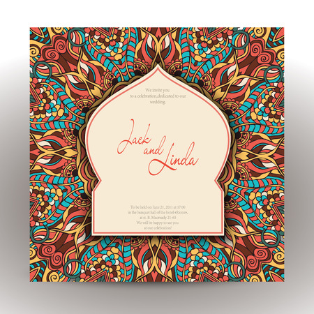 Vintage invitation cards with lace ornament. Eastern floral decor. Template frame. Perfect cards for any other kind of design, birthday and other holiday, kaleidoscope,  medallion, yoga, india, arabic Vector