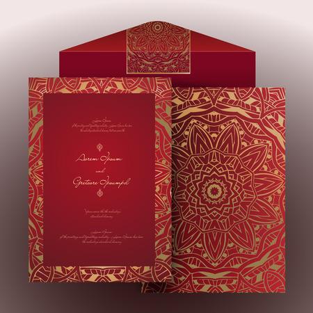 Vintage uitnodiging kaarten met kant ornament. Eastern bloemen decor. Template frame. Perfecte kaarten voor elke andere vorm van design, verjaardag en andere vakantie, caleidoscoop, medaillon, yoga, india, Arabisch