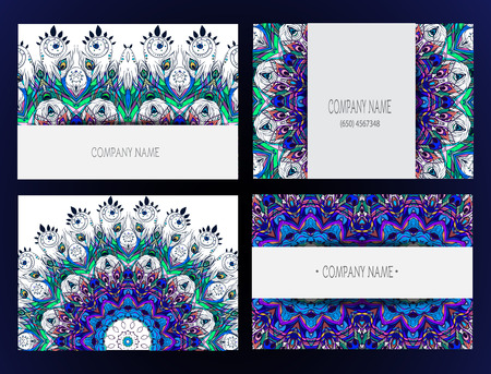 peacock design: Set of business card and invitation card templates with lace ornament. Vector background. Indian, Arabic, Islam motifs. Peacock design elements. Wedding or save the date hand drawn background.