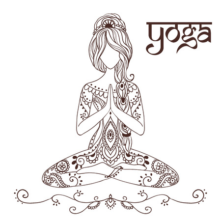 spiritual: Ornament beautiful card with yoga. Geometric element hand drawn