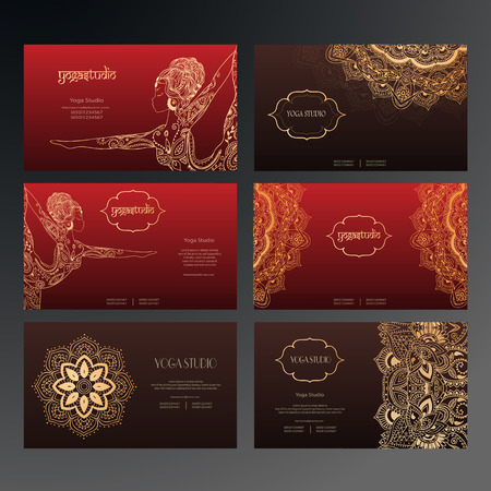 namaste: Set of business card and invitation card templates with lace ornament