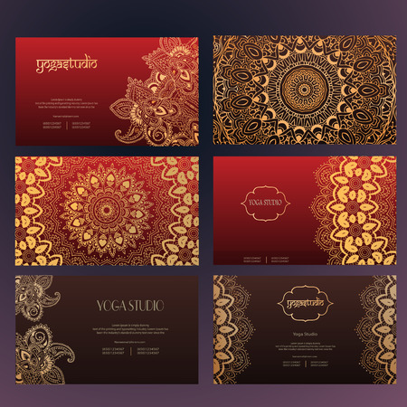 Set of business card and invitation card templates with lace ornament. Yoga center. Indian, Islam, Arabic, ottoman motifs. Vintage design elements, or save the date hand drawn background.