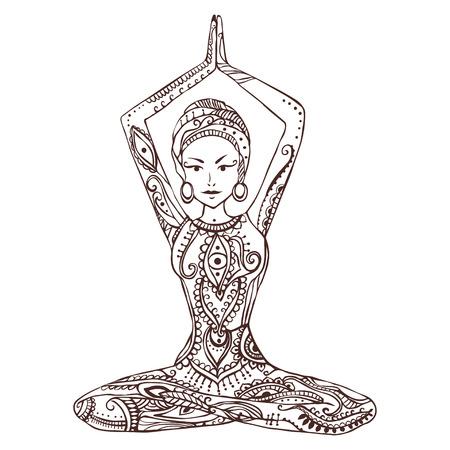 Ornament Schöne Karte Mit Vector Yoga. Geometrieelement Von Hand ...