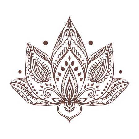 Ornament beautiful card with yoga. Geometric element hand drawn