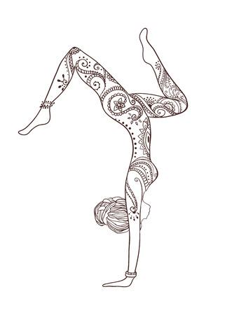 Ornamento bella carta con Vector yoga. Disegnato geometrica elemento mano. Carte perfette per qualsiasi altro tipo di design, compleanno e altre vacanze, caleidoscopio, medaglione, yoga, india, arabo Archivio Fotografico - 39489434