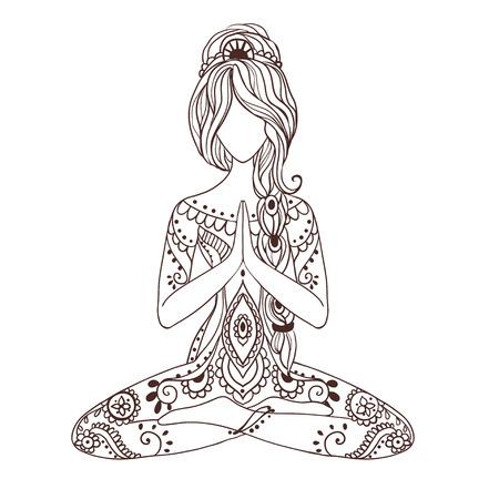 Ornamento tarjeta hermosa con vector de yoga. Dibujado elemento geométrico mano. Tarjetas perfectas para cualquier otro tipo de diseño, cumpleaños y otras fiestas, caleidoscopio, medallón, el yoga, la india, árabe Ilustración de vector