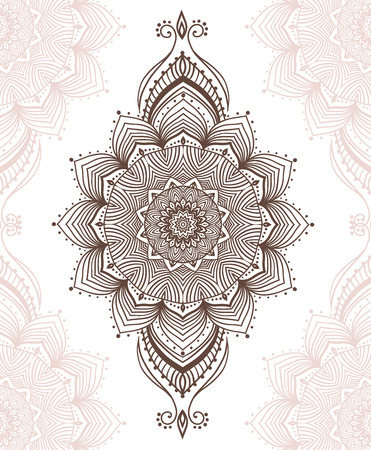 Hand drawn greeting card ornament illustration concept. Lace pattern design. Vector decorative banner of card or invitation design Vintage traditional, Islam, arabic, indian, ottoman motifs, elements. Vectores