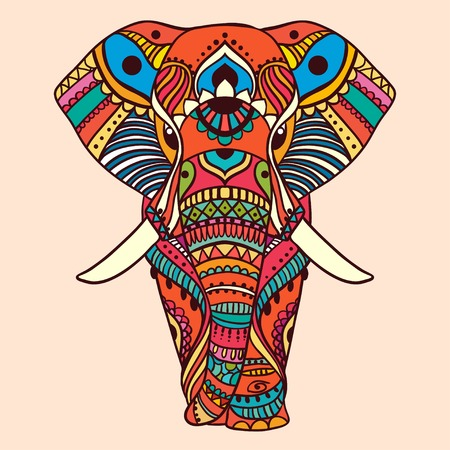 elefant: Hand gezeichnet Gru�karte Ornament Illustration Konzept. Lochmuster-Design. Vector dekorative Banner der Karte oder eine Einladung Design Jahrgang traditionellen, Islam, arabisch, indisch, Ottomane Motiven, Elemente.