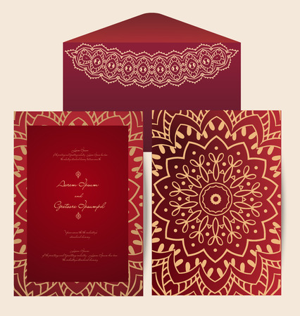 indian wedding: Hand drawn greeting card ornament illustration concept. Lace pattern design. Vector decorative banner of card or invitation design Vintage traditional, Islam, arabic, indian, ottoman motifs, elements. Illustration