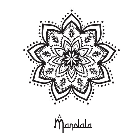 mandala: Hand drawn greeting card ornament illustration concept. Lace pattern design. Vector decorative banner of card or invitation design Vintage traditional, Islam, arabic, indian, ottoman motifs, elements. Illustration