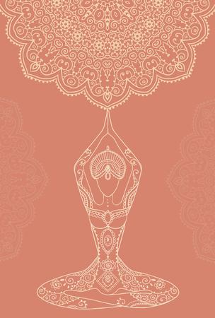 icono deportes: Mano tarjeta de felicitación dibujado ornamento ilustración concepto. Diseño del modelo del cordón. Vector decorativo bandera de la tarjeta de invitación o diseño de la vendimia tradicional, Islam, árabe, indio, motivos otomanos, elementos. Vectores