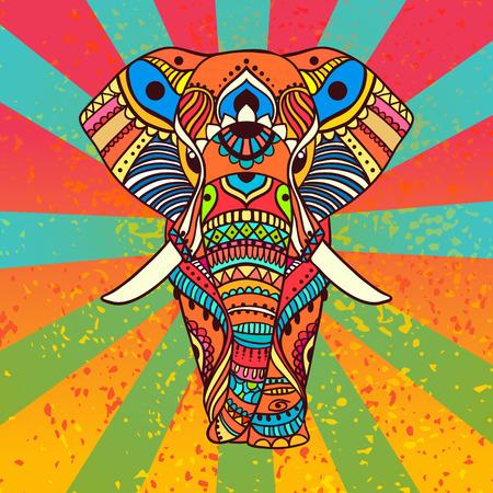 elefant: Mano tarjeta de felicitaci�n dibujado ornamento ilustraci�n concepto. Dise�o del modelo del cord�n. Vector decorativo bandera de la tarjeta de invitaci�n o dise�o de la vendimia tradicional, Islam, �rabe, indio, motivos otomanos, elementos. Vectores