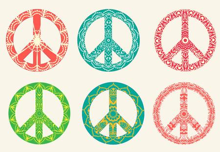segno della pace: Mano biglietto di auguri disegnata concetto illustrazione ornamento. Design pattern pizzo. Vector decorative bandiera di carta o un invito di design Vintage tradizionale, Islamismo, arabo, indiano, motivi ottomani, elementi. Vettoriali