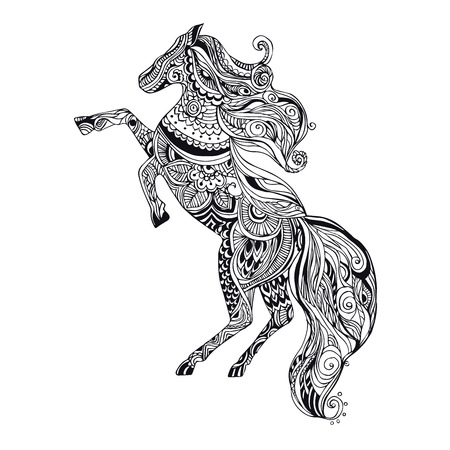 caballos negros: Mano tarjeta de felicitación dibujado ornamento ilustración concepto. Diseño del modelo del cordón. Vector decorativo bandera de la tarjeta de invitación o diseño de la vendimia tradicional, Islam, árabe, indio, motivos otomanos, elementos. Vectores