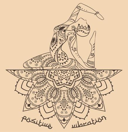 donna che balla: Mano biglietto di auguri disegnata concetto illustrazione ornamento. Design pattern pizzo. Vector decorative bandiera di carta o un invito di design Vintage tradizionale, Islamismo, arabo, indiano, motivi ottomani, elementi. Vettoriali