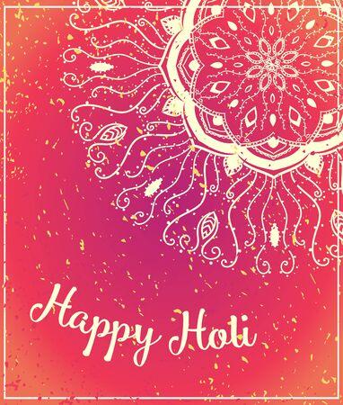 panchami: Ornamental Happy Holi and Dolyatra celebration card with mandala