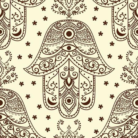 kabbalah: Ornament pattern with hamsa. Geometric circle element Illustration