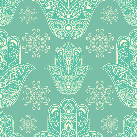 protection hands: Ornament pattern with hamsa. Geometric circle element Illustration