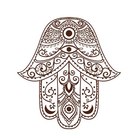 jesus hands: Ornament card with hamsa. Geometric circle element