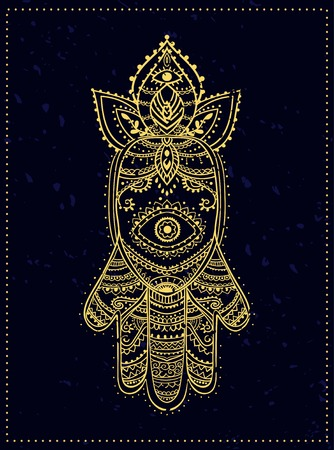 kabbalah: Ornament card with hamsa. Geometric circle element