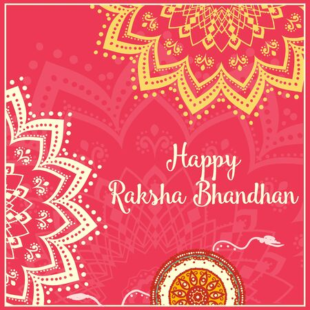 raksha: Raksha Bhandhan invitation cards with lace ornament. Brother and sister festival India Illustration