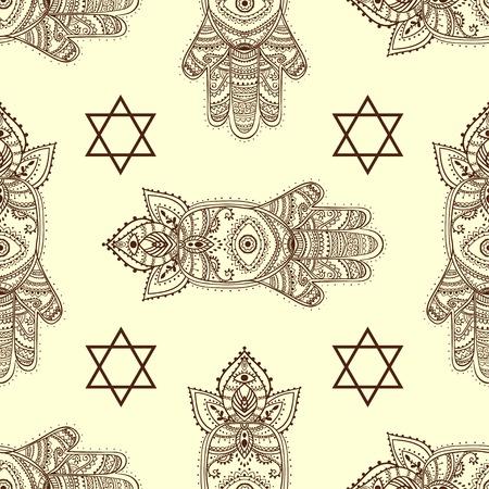 kabbalah: Ornament card with hamsa. Geometric circle element