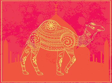and  art: Greeting Beautiful card with camel