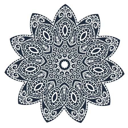 white card: Ornament black white card with mandala Illustration