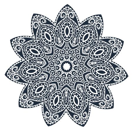 fekete-fehér: Ornament black white card with mandala Illusztráció