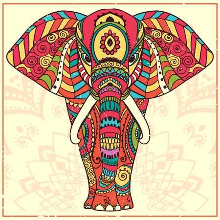 Greeting Beautiful card with Elephant Иллюстрация