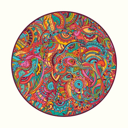 Hippie style. Ornamental watercolor background