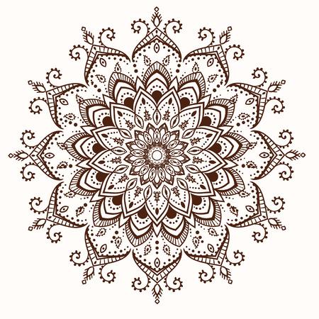arabesque wallpaper: Ornament black white card with mandala Illustration