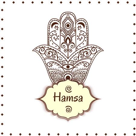 kabbalah: Ornament card with hamsa