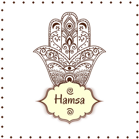 hamsa: Ornament card with hamsa