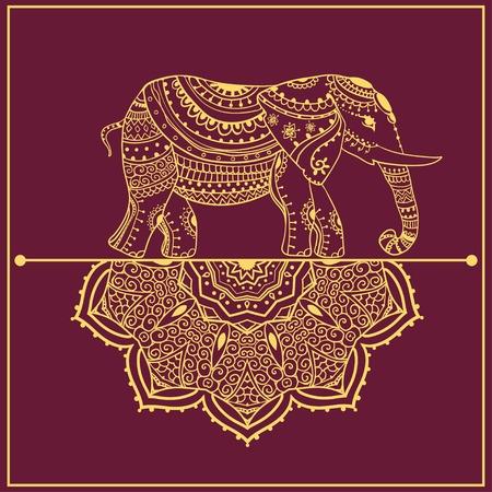 origen animal: Saludo Hermosa tarjeta con elefante Vectores