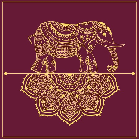 Greeting Beautiful card with Elephant Vettoriali