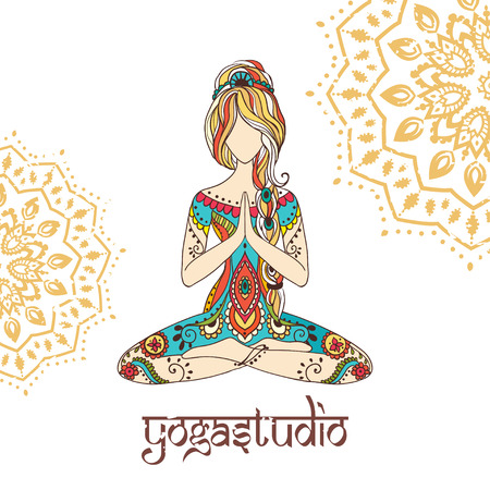 indian yoga: Ornament beautiful card with yoga
