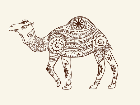 camel silhouette: Greeting Beautiful card with camel