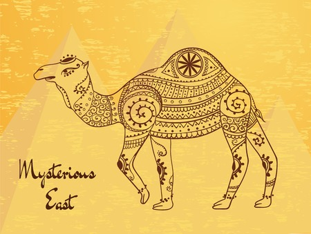 india pattern: Greeting Beautiful card with camel