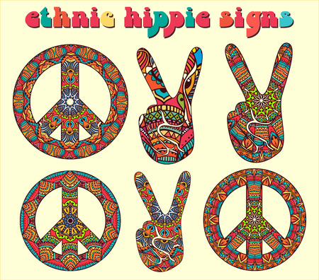 peace sign: Hippie style. Ornamental watercolor background