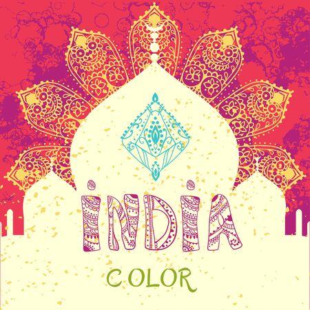 pichkari: Ornamental Happy india color celebration card with mandala
