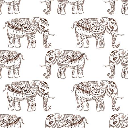 thai elephant: Greeting Beautiful card with Elephant Illustration
