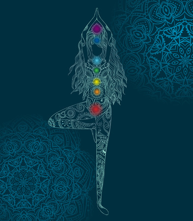 kundalini: Ornament beautiful card with Vector yoga. Illustration