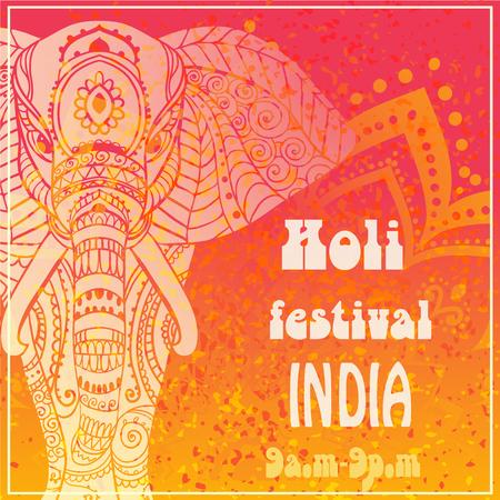 pichkari: Ornamental Happy Holi and Dolyatra celebration card with mandala. Illustration
