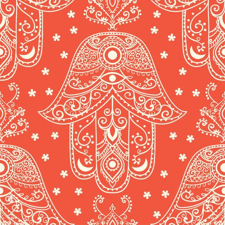 kabbalah: Ornament pattern with hamsa.