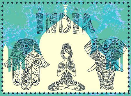 Ornament card with hamsa. Ilustracja
